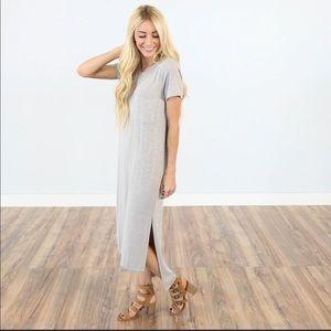 Stevie Hender Maxi Dress Gray Taupe M Shop Stevie